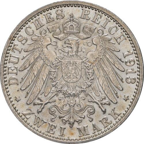 Rückseite :Deutschland : 2 Mark Friedrich II. patina 1913 Stgl.