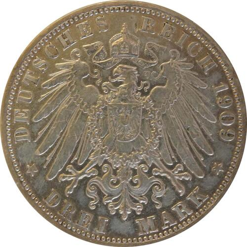 Rückseite:Deutschland : 3 Mark Friedrich II.  1909 ss.