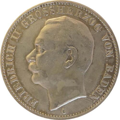 Vorderseite:Deutschland : 3 Mark Friedrich II.  1909 ss.
