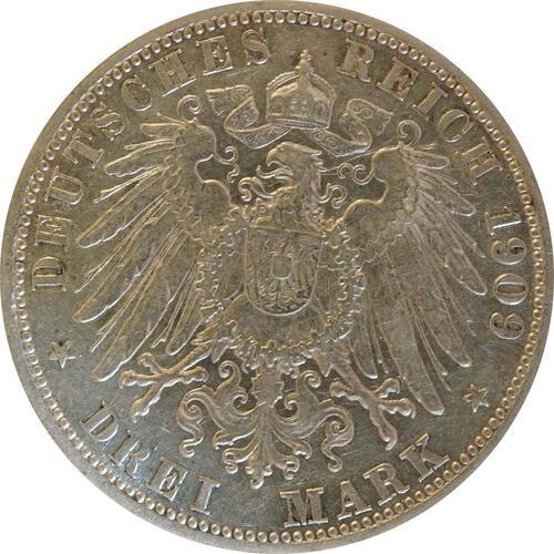 Rückseite:Deutschland : 3 Mark Friedrich II.  1909 ss/vz.