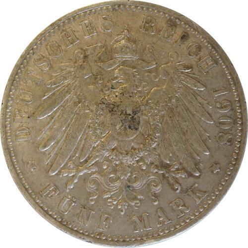 Rückseite:Deutschland : 5 Mark Otto  1908 ss/vz.