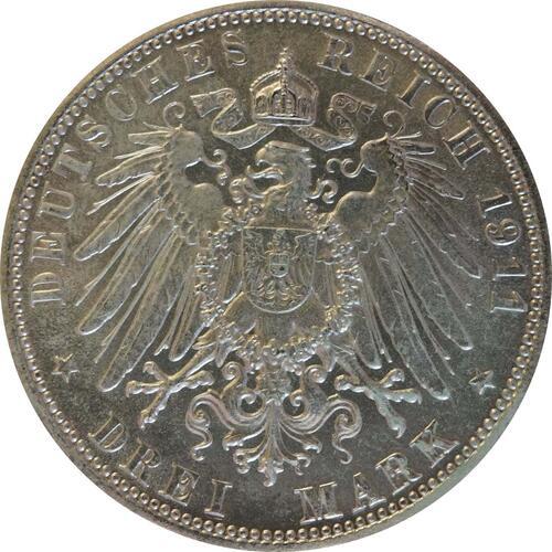 Rückseite:Deutschland : 3 Mark Luitpold  1911 ss/vz.