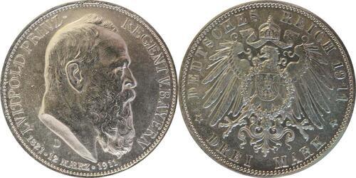 Lieferumfang :Deutschland : 3 Mark Luitpold  1911 ss/vz.