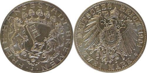 Lieferumfang:Deutschland : 2 Mark Stadtwappen  1904 Stgl.