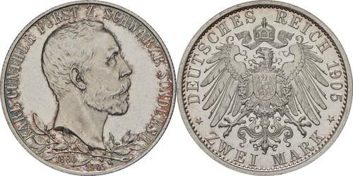 Lieferumfang:Deutschland : 2 Mark Karl Günther - aus PP  1905 Stgl.