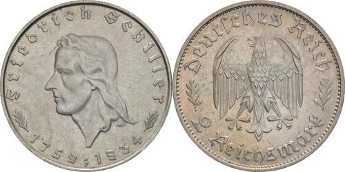 Lieferumfang :Deutschland : 2 Reichsmark Schiller  1934 vz/Stgl.