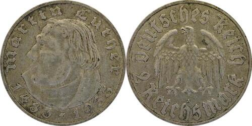Lieferumfang :Deutschland : 2 Reichsmark Luther  1933 ss.