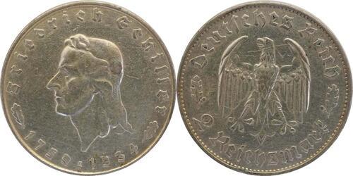 Lieferumfang:Deutschland : 2 Reichsmark Schiller  1934 ss.