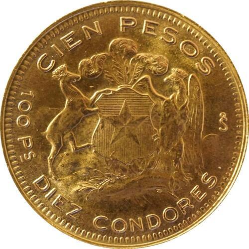 Rückseite:Chile : 100 Pesos   1958 Stgl.
