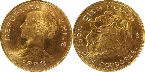 Lieferumfang:Chile : 100 Pesos   1958 Stgl.