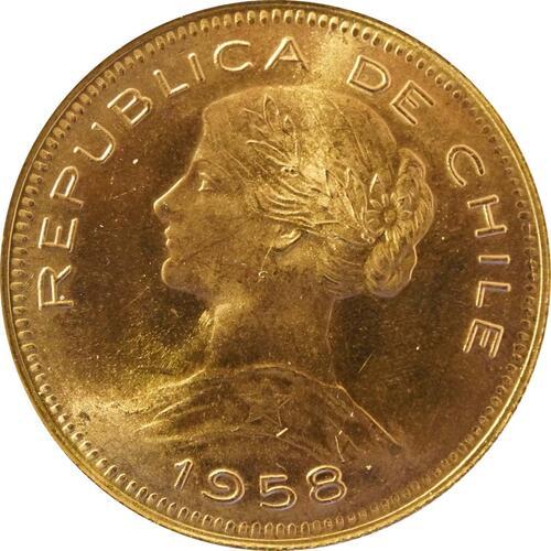 Vorderseite:Chile : 100 Pesos   1958 Stgl.