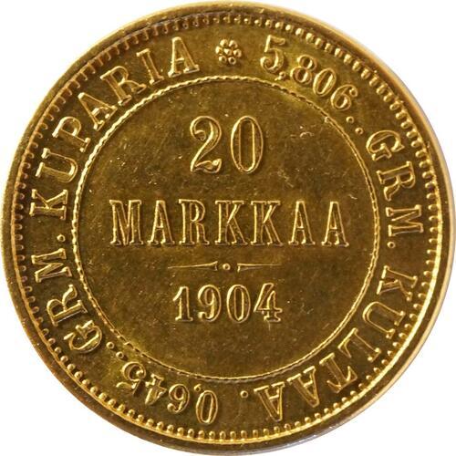 Vorderseite:Finnland : 20 Markkaa   1904 vz/Stgl.
