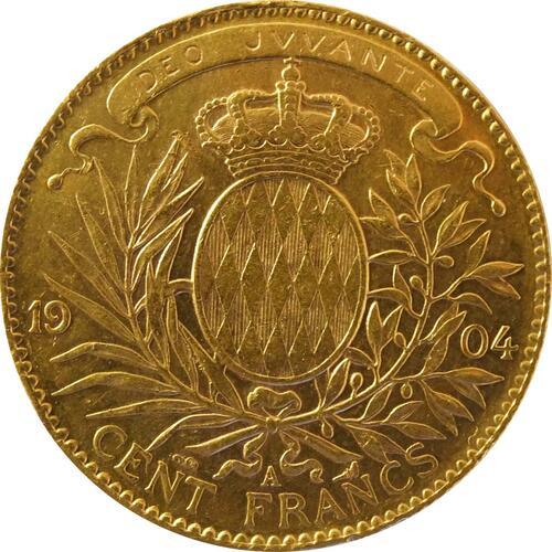Rückseite:Monaco : 100 Francs Albert winz. Kratzer 1904 vz.