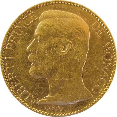 Vorderseite:Monaco : 100 Francs Albert winz. Kratzer 1904 vz.