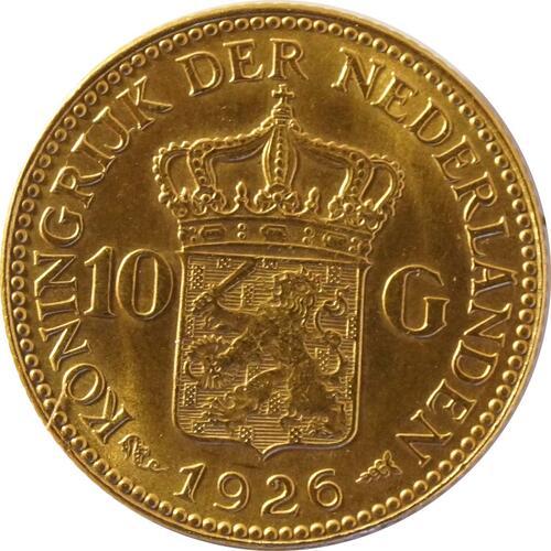 Rückseite:Niederlande : 10 Gulden   1926 vz/Stgl.