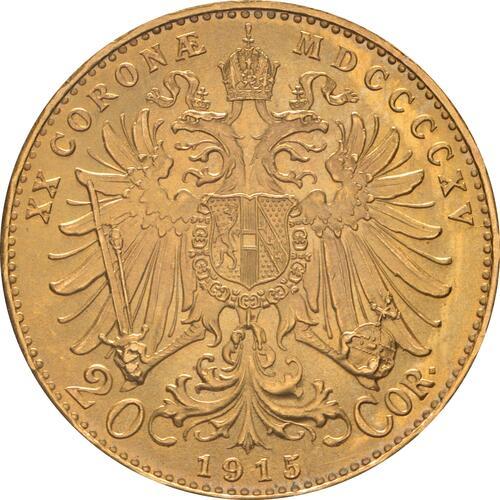 Rückseite :Österreich : 20 Kronen NP  1915 vz/Stgl.