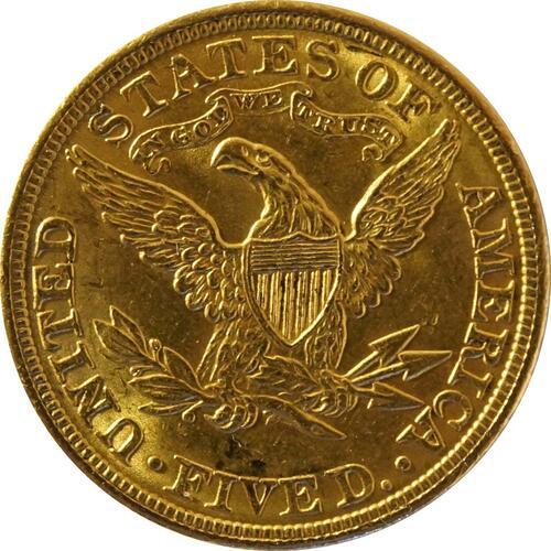 Rückseite:USA : 5 Dollar Kopf  1907 vz/Stgl.