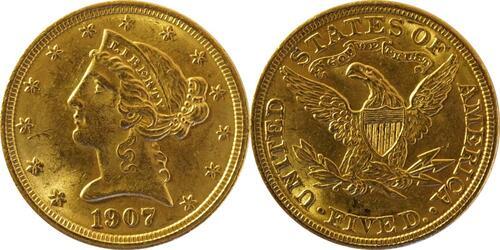 Lieferumfang:USA : 5 Dollar Kopf  1907 vz/Stgl.