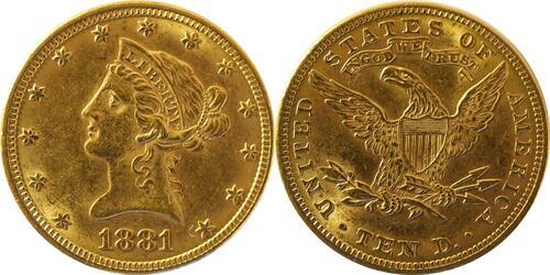 Lieferumfang :USA : 10 Dollar Kopf winz. Rs. 1881 vz.