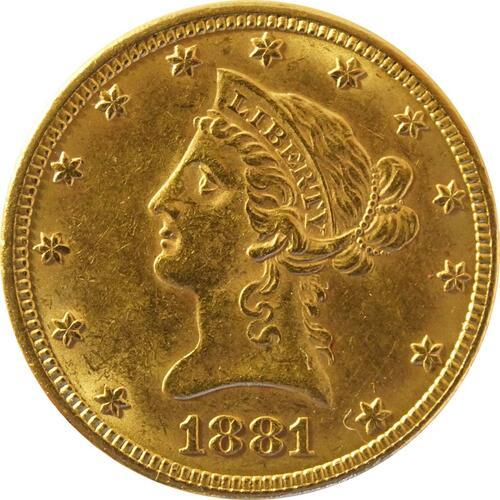 Vorderseite :USA : 10 Dollar Kopf winz. Rs. 1881 vz.