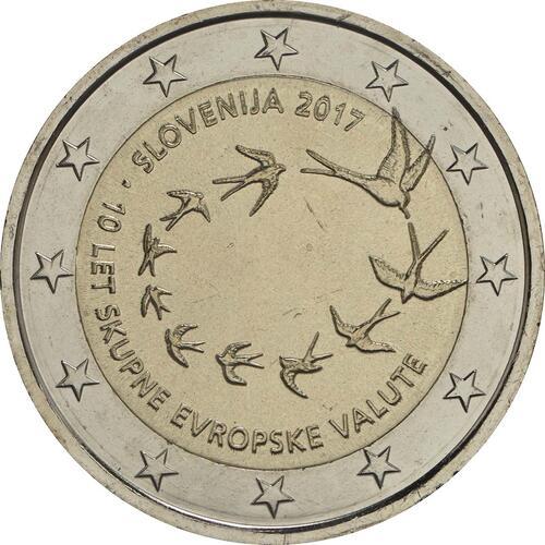 Rückseite:Slowenien : 2 Euro 10. Jahrestag der Einführung des Euro in Slowenien  2017 bfr