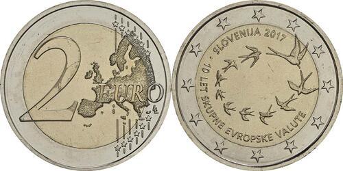 Lieferumfang:Slowenien : 2 Euro 10. Jahrestag der Einführung des Euro in Slowenien  2017 bfr