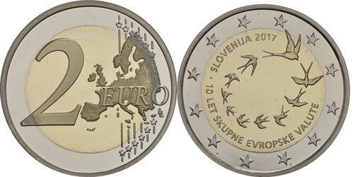 Lieferumfang :Slowenien : 2 Euro 10. Jahrestag der Einführung des Euro in Slowenien  2017 PP
