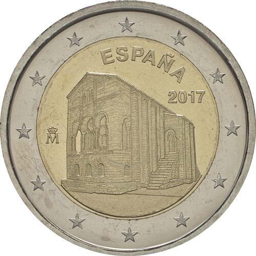 Rückseite:Spanien : 2 Euro Kirchen des Königreichs Asturien  2017 bfr