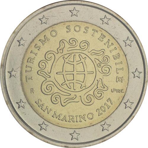 Rückseite :San Marino : 2 Euro Internationales Jahr des Tourismus  2017 Stgl.