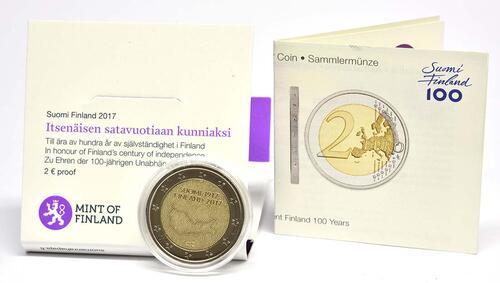 Lieferumfang :Finnland : 2 Euro 100. Jahrestag der Unabhängigkeit Finnlands  2017 PP