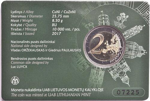 Zertifikat:Litauen : 2 Euro Vilnius - Hauptstadt der Kunst und Kultur  2017 Stgl.