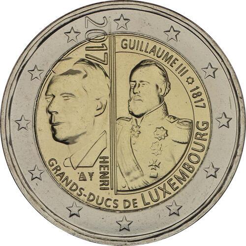 Rückseite:Luxemburg : 2 Euro 200. Geburtstag des Großherzogs Guillaume III.  2017 Stgl.
