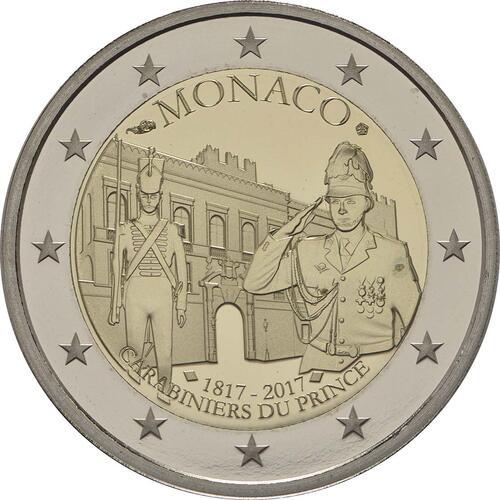 Rückseite :Monaco : 2 Euro 200 Jahre Fürstliche Karabinierskompanie  2017 PP
