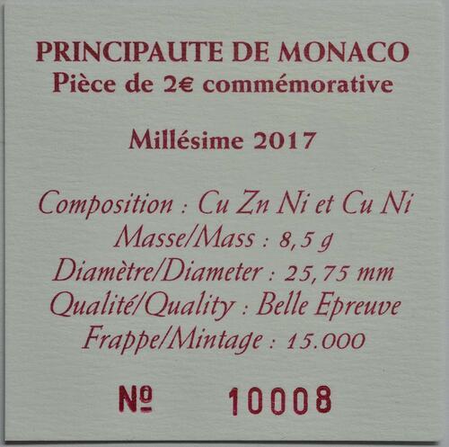 Zertifikat:Monaco : 2 Euro 200 Jahre Fürstliche Karabinierskompanie  2017 PP