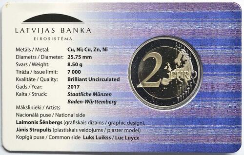 Zertifikat :Lettland : 2 Euro Latgale  2017 Stgl.