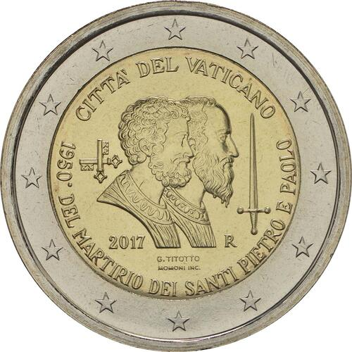 Rückseite:Vatikan : 2 Euro 1950. Jahrestag des Martyriums von St. Peter und Paul  2017 Stgl.