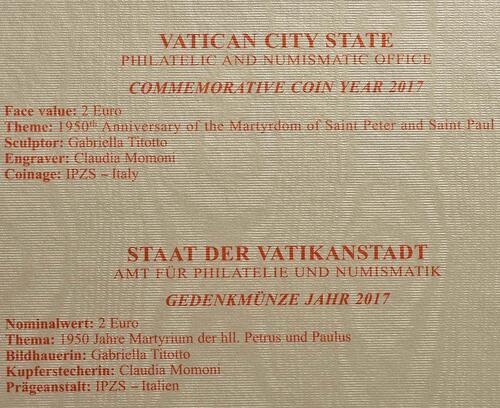 Zertifikat:Vatikan : 2 Euro 1950. Jahrestag des Martyriums von St. Peter und Paul  2017 Stgl.