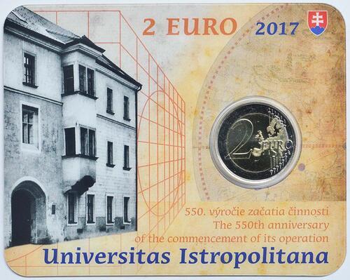 Lieferumfang:Slowakei : 2 Euro Universität Istropolitana - 550. Jahrestag  2017 Stgl.