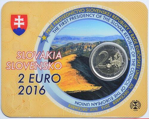 Lieferumfang:Slowakei : 2 Euro Erste EU-Präsidentschaft der Slowakei  2016 Stgl.