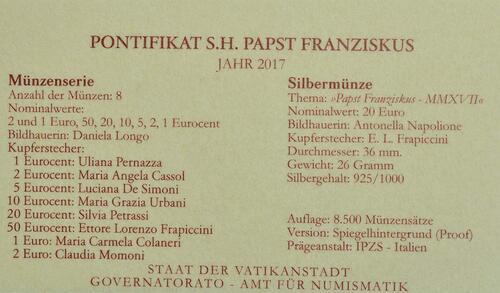 Zertifikat:Vatikan : 23,88 Euro KMS Vatikan mit 20 Euro Gedenkmünze  2017 PP