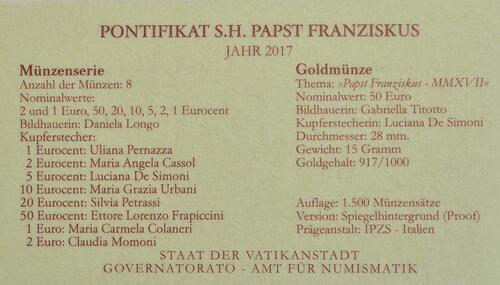 Zertifikat:Vatikan : 53,88 Euro KMS Vatikan mit 50 Euro Gedenkmünze  2017 PP