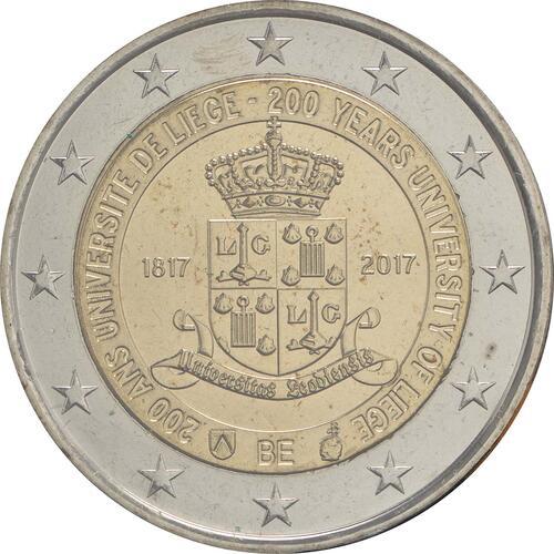 Rückseite:Belgien : 2 Euro 200 Jahre Universität zu Lüttich  2017 Stgl.