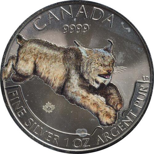 Vorderseite:Kanada : 5 Dollar Wildlife Serie III - Raubtiere - Luchs - farbig  2017 Stgl.