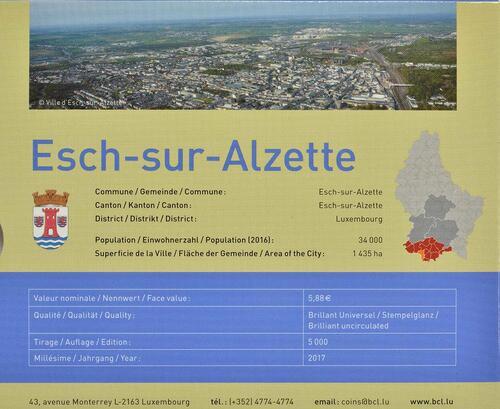 Zertifikat :Luxemburg : 5,88 Euro KMS Luxemburg Esch-sur-Alzette  2017 Stgl.