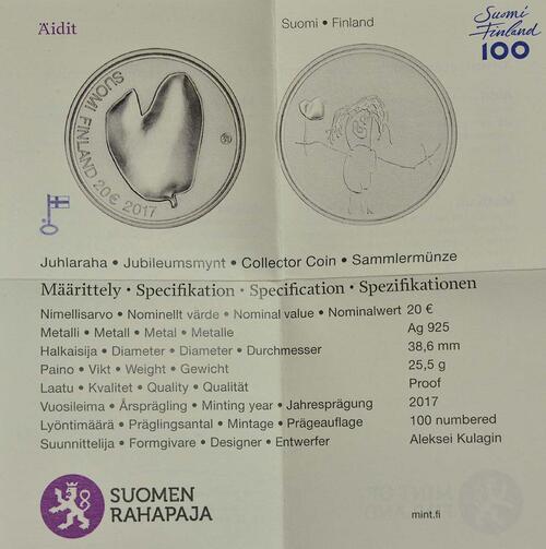 Zertifikat :Finnland : 20 Euro Für die Mütter  2017 PP