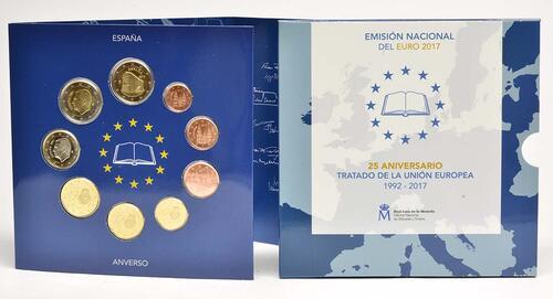 Lieferumfang :Spanien : 5,88 Euro KMS Spanien 25 Jahre EU incl. 2 Euro Kirchen des Königreichs Asturien  2017 Stgl.