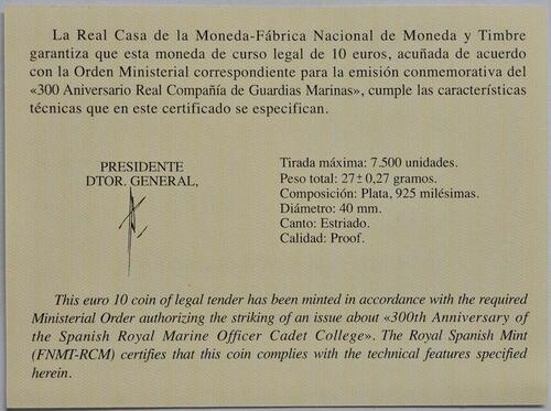 Zertifikat :Spanien : 10 Euro 300 Jahre Spanische Marineschule  2017 PP