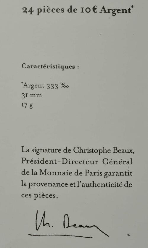 Zertifikat :Frankreich : 170 Euro 12x10 Euro + 1x50 Euro  Set 1 von 2  2017 bfr