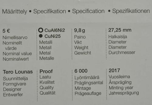 Zertifikat :Finnland : 5 Euro Ryti  2017 PP