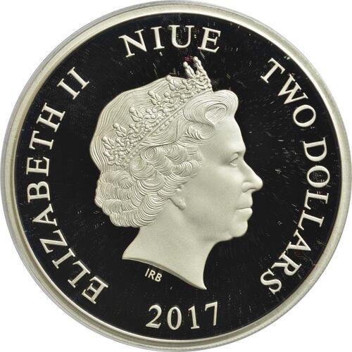 Rückseite :Niue : 2 Dollar Könige der Kontinente - Salzwasserkrokodil  2017 PP